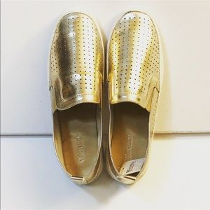 New Gold Perforated Shoes